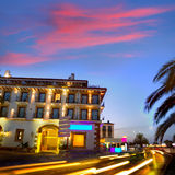 Denia old village sunset dusk in Alicante Spain Stock Photography