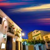 Denia old village sunset dusk in Alicante Spain Stock Photo