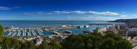 Denia port from the castle royalty free stock photography
