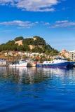 Denia Port with castle hill Alicante province Spain. Denia Port with castle hill fisherboats in Alicante province Spain Royalty Free Stock Photos