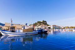 Denia Port with castle hill Alicante province Spain Royalty Free Stock Image