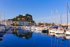 Denia Port with castle hill Alicante province Spain. Denia Port with castle hill and marina boats in Alicante province Spain royalty free stock photo