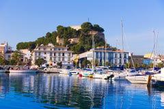 Denia Port with castle hill Alicante province Spain. Denia Port with castle hill and marina boats in Alicante province Spain Royalty Free Stock Images