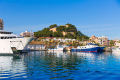 Denia Port con la provincia Spagna di Alicante della collina del castello Fotografia Stock Libera da Diritti