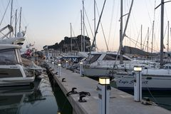 Denia port at dusk, Alicante, Spain Royalty Free Stock Images