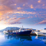 Denia Port fisherboats Montgo mountain in Alicante Stock Photos