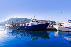 Denia Port fisherboats Montgo mountain in Alicante Royalty Free Stock Image