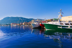 Denia Port fisherboats Montgo mountain in Alicante Royalty Free Stock Images
