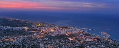 Denia port in twilight Stock Photo