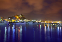 Denia portsolnedgång i marina på Alicante Spanien Arkivbilder