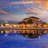Denia portsolnedgång i marina på Alicante Spanien Arkivfoto