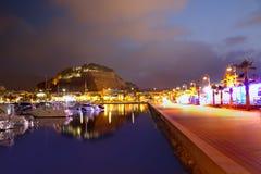 Denia portsolnedgång i marina på Alicante Spanien Royaltyfria Foton