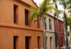 Denia street Loreto facades in Alicante spain Stock Images