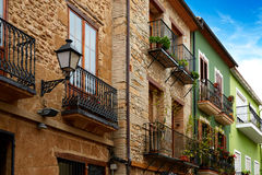 Denia street Loreto facades in Alicante spain Stock Photography
