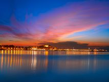 Denia sunset with castle and marina royalty free stock images