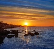 Denia sunset with castle and marina royalty free stock photography