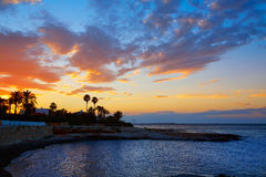 Denia sunset las Rotas in Mediterranean Spain Stock Images