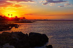 Denia sunset las Rotas in Mediterranean Spain Stock Photography