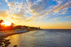 Denia sunset las Rotas in Mediterranean Spain Royalty Free Stock Photo