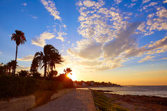 Denia sunset las Rotas in Mediterranean Spain Royalty Free Stock Photos