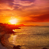 Denia sunset las Rotas in Mediterranean Spain Royalty Free Stock Image