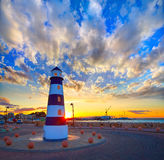 Denia sunset lighthouse at dusk in Alicante Royalty Free Stock Photos