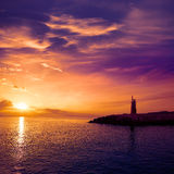 Denia sunset lighthouse at dusk in Alicante Stock Image