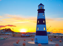 Denia sunset lighthouse at dusk in Alicante Royalty Free Stock Photography