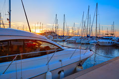 Denia sunset in Marina boats Mediterranean Spain Royalty Free Stock Images