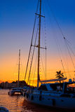 Denia sunset in Marina boats Mediterranean Spain Stock Image