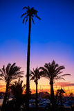 Denia sunset in Marina boats Mediterranean Spain Stock Photography