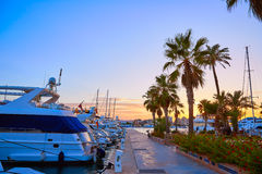 Denia sunset in Marina boats Mediterranean Spain Royalty Free Stock Image