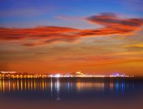 Denia sunset with castle and marina royalty free stock photo
