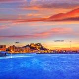 Denia sunset village skyline at dusk in Alicante Stock Photo