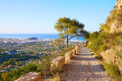 Denia track in Montgo mountain at Alicante Stock Images