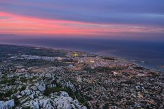Denia in twilight Royalty Free Stock Images