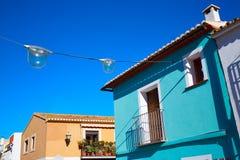 Denia Village medelhavs- fasader i Alicante Arkivfoto