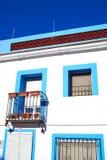 Denia Village medelhavs- fasader i Alicante Arkivbilder