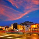 Denia village sunset in Alicante Spain Stock Image