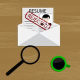 Denial of employment. Resume to job rejected. business employment, recruitment rejected. Vector illustration Royalty Free Stock Image