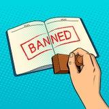 Denial of entry pop art vector illustration. Denial of entry to country pop art style vector illustration. Visa banned red stamp. Entry to country forbidden Royalty Free Stock Photo