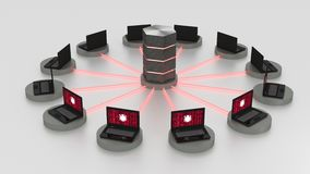 Denial of service attack on centralized server. Twelve laptops arranged in a circle around a hexagon server with glowing red fiber connections denial of service Stock Images