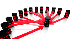 Denial of service attack. 3D illustration of multiple malicious servers in red attacking one server in blue denial of service concept Stock Photography