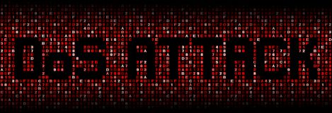 Denial of Service Attack text on hex code illustration. Denial of Service Attack text on abstract shades of red hex code background illustration Stock Images