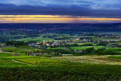 Denice and Lacenas village in Beaujolais land, France Royalty Free Stock Photography