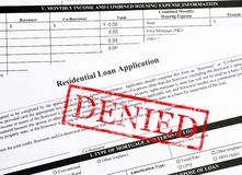 Denied. Stamp on a residential mortgage loan Stock Images