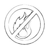 Denied fire flame signal icon. Vector illustration design Stock Photography