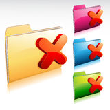Denied Folder Icon. Illustration of a glossy folder icon with an x mark Stock Photo