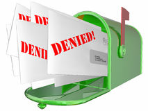 Denied Letter Message Rejection Mailbox. 3D Royalty Free Stock Images