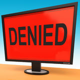 Denied Monitor Showing Rejection Deny Decline Or Refusal Stock Images